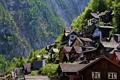 Картинка гора, Австрия, склон, домики, Austria, Hallstatt, Гальштат