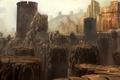 Картинка замок, город, скалы, арт, крепость, камни