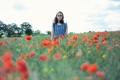 Картинка поле, цветы, маки, девочка