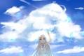 Картинка цветок, небо, девушка, облака, аниме, лепестки, арт