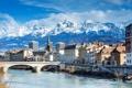 Картинка облака, снег, пейзаж, горы, мост, река, Франция