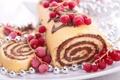 Картинка сладость, шоколад, выпечка, рулет, красная смородина
