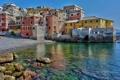 Картинка море, город, камни, фото, дома, Италия, Генуя