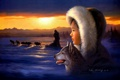 Картинка упряжка, арт, собаки, Tok Hwang, зима, девочка