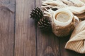Картинка зима, лимон, чай, шарф, кружка, шишки