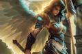 Картинка свет, Девушка, крылья, доспехи