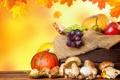 Картинка осень, виноград, яблоки, фрукты, урожай, листья, тыквы