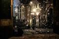 Картинка снег, ночь, фонарь, Milano, piazza Mercanti