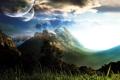Картинка небо, трава, облака, свет, деревья, горы, земля