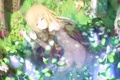 Картинка лес, трава, девушка, цветы, природа, звери, животное