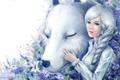 Картинка девушка, цветы, собака, арт, белая
