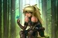 Картинка лес, взгляд, бабочка, эльф, арт, эльфийка, уши