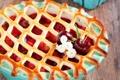 Картинка ягоды, пирог, выпечка, вишни, сладкое