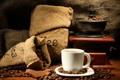 Картинка кофе, шоколад, чашка, напиток, блюдце, зёрна, кофемолка