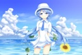 Картинка море, девушка, облака, подсолнух, шляпа, арт, hatsune miku