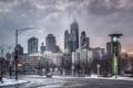 Картинка город, Зима, Снег, Чикаго, Небоскребы, США, Америка