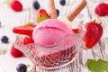 Картинка ягоды, стол, черника, клубника, розовое, мороженое, крем