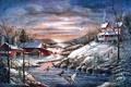 Картинка лёд, Mary Ann Vessey, Winter Haven, птицы, коттедж, утки, живопись