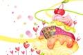 Картинка ягоды, фантазия, дома, сердечки, крем, детские обои, вишенки