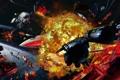 Картинка космос, взрывы, корабли, арт, sci-fi, Distant Star