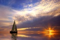 Картинка лодка, вода, Закат