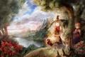 Картинка горы, природа, река, девочки, аниме, шляпка, ведьма