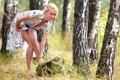Картинка лес, поза, Девушка, природа.
