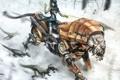 Картинка девушка, тигр, роботы, la tigre e la neve