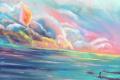 Картинка море, небо, облака, пейзаж, мальчик, кепка, живопись
