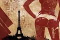 Картинка попа, девушка, пистолет, оружие, узор, эйфелева башня, париж