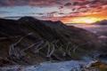 Картинка закат, дорога, гора