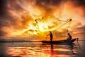 Картинка ночь, природа, сети, озеро, лодка, рыбалка