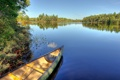 Картинка зелень, вода, пейзаж, озеро, пруд, река, лодка