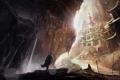 Картинка скалы, арт, ступени, птицы, человек, храм