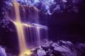 Картинка свет, деревья, камни, цвет, водопад, поток