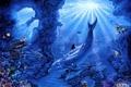 Картинка дельфины, кораллы, рыбы, морское дно, арт, лучи, Belinda Leigh