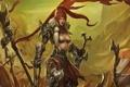 Картинка девушка, горы, меч, доспехи, флаг, fan art, Red Sonja