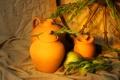 Картинка яблоки, колосья, фрукты, кувшины