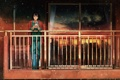Картинка девушка, закат, город, дождь, дома, аниме, слезы
