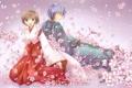 Картинка девушка, цветы, сакура, арт, парень, vocaloid, meiko