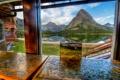 Картинка пазлы, река, пруд, горы, вид из окна, вода