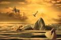 Картинка девушка, солнце, лучи, замок, голубь, лебедь