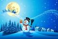 Картинка снег, деревья, новый год, шарф, снеговик, new year, trees