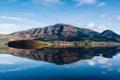 Картинка небо, облака, горы, озеро, отражение, зеркало