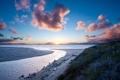 Картинка Песок, пляж, закат, солнце
