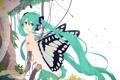 Картинка листья, девушка, провода, робот, крылья, наушники, арт
