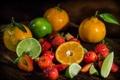 Картинка ягоды, клубника, лайм, цитрусы, мандарины