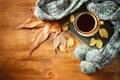 Картинка осень, листья, кофе, шарф, чашка, hot, autumn