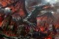 Картинка город, огонь, Дракон, развалины, битва