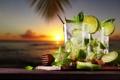 Картинка море, пляж, закат, коктейль, лайм, fresh, drink